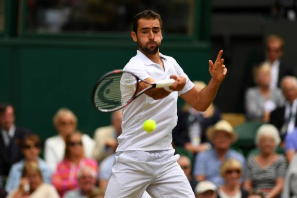 Marin Cilic in action today (Getty/Shaun Botterill)