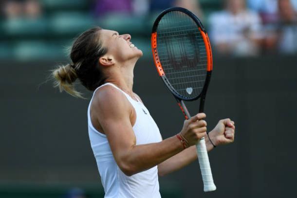 Simona Halep celebrates her second victory of Wimbledon (Getty/Shaun Botterill)