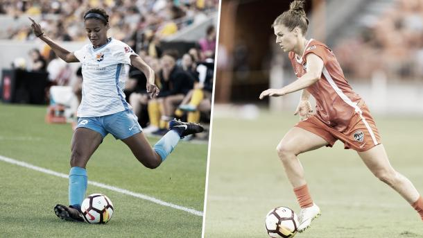 Rookies Imani Dorsey (left) and Veronica Latsko (right) will hope to continue their impressive rookie seasons. (Photo via nwslsoccer.com)