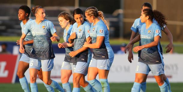 Hayes, Killion, Corbox, Kerr, Tiernan, Rodrigue, for Sky Blue FC l Photo: Robyn McNeil/ ISI Photos