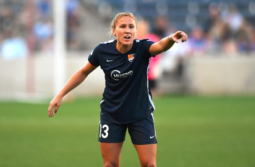 Sky Blue FC defender Kristin Grubka during a game between the Sky Blue FC and the Chicago Red Stars | Photo by Patrick Gorski/Icon Sportswire via Getty Images