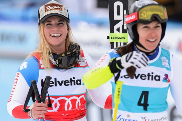 Lara Gut ends 3rd and assures herself the Overall big Crystal Globe while Wendy Holdener takes the victory of the day and wins the Super Combined little Crystal Globe   Photo: Keystone