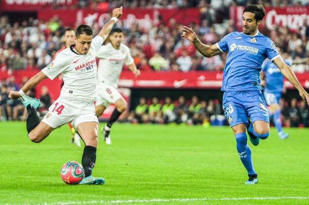 Javier Hernandez (Chicharito) anotó uno de los dos goles ante el Getafe   Fuente: Sevilla FC