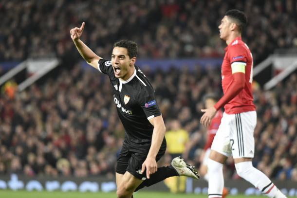 Ben Yedder celebra un gol ante el Manchester | Fuente Sevilla FC