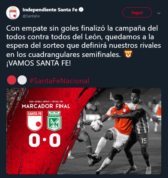 Empate sin goles y clasificación cardenal en El Campín. Imagen: @SantaFe