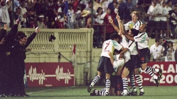 The San Jose Clash players celebrating Eric Wynalda's goal winning goal in MLS inaugural match at Spartan Stadium in D.C. United. Photo provided by Getty Images.