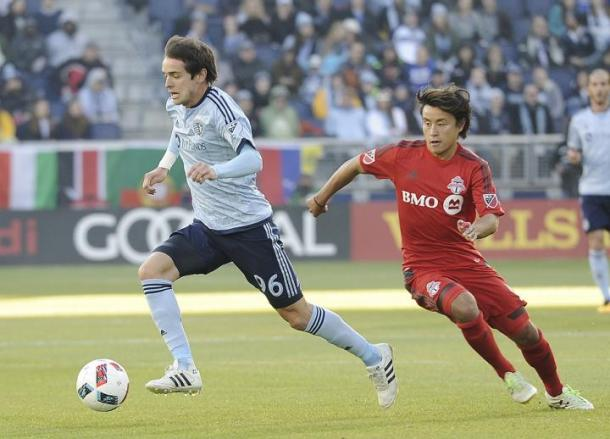 When ever a Sporting Kansas City player had the ball and Toronto FC player was always close by. Photo provided by Nick Smith.