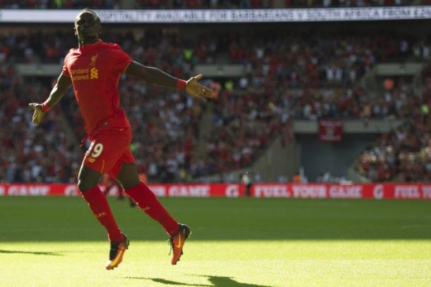 Sadio Mane scoring his first Liverpool goal against Barcelona in their pre-season win at Wembley. (Picture: Getty Images)
