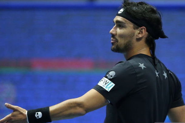 Photo: Peter Kovalev/TASS via Getty Images- Fabio Fognini expresses his frustration.