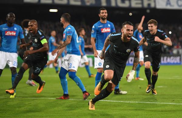 Otamendi celebra su gol al Nápoles. Foto: AFP