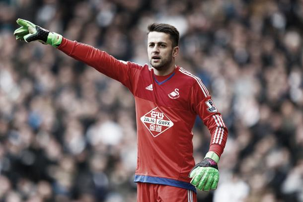 Lukasz Fabianski last minute save secured the 1-0 victory for the Swans on Saturday. Photo provided by Getty Images.
