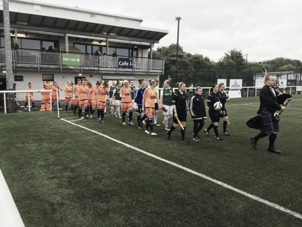 The Hibernian and Glasgow City teams come out ahead of the Final. Photo: Twitter @HibsLadies