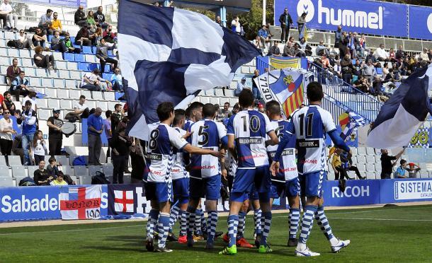 El Sabadell celebra un gol en la Nova Creu Alta | Foto: CE Sabadell
