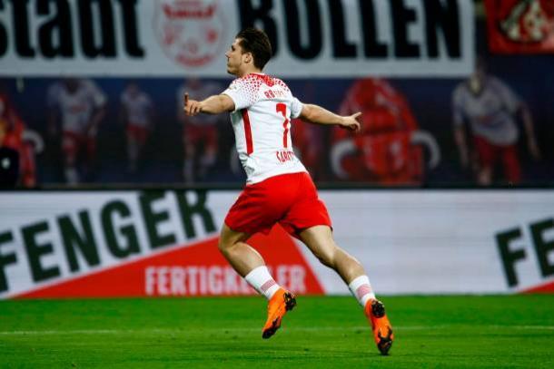 Sabitzer chegou a abrir o placar, mas o Leipzig não conseguiu manter a vantagem (Foto: Odd Andersen/AFP via Getty Images)