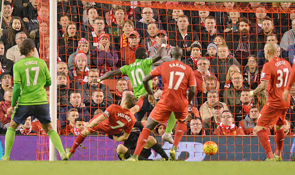 Mane equalises for the Saints late on at Anfield back in October | Photo: Getty Images