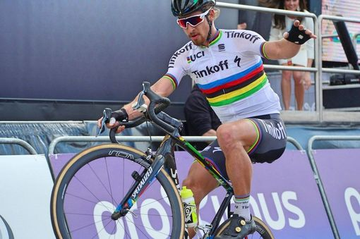 Sagan's signature wheelie celebration after winning his first monument | Photo: RoadCycling