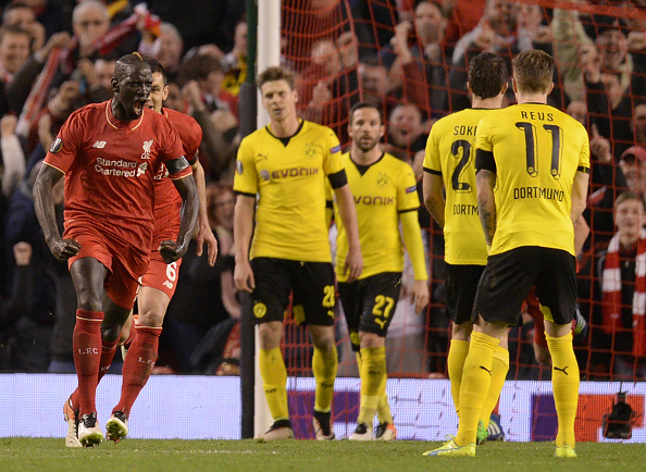 Mamadou Sakho flexes after scoring the equalizing goal. (Getty)