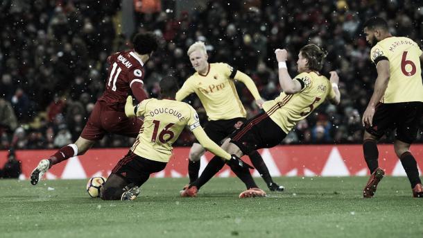 Salah en la victoria ante el Watford. Foto: Premier League.