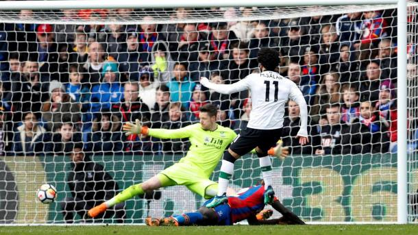 Salah en el gol de la victoria contra el Crystal Palace.
