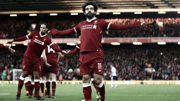 Salah celebra el gran gol ante Tottenham. Foto: Premier League.