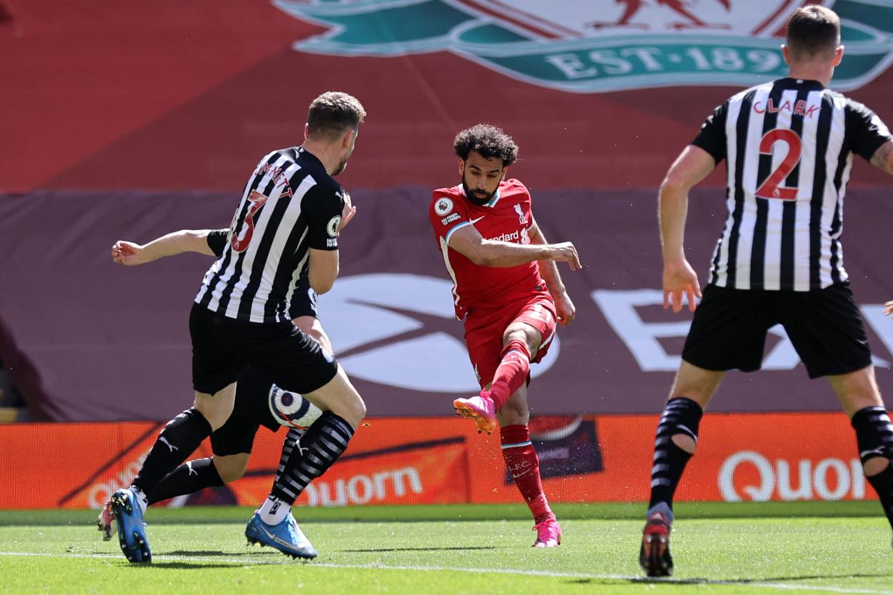 El disparo de Salah en la jugada del gol | Foto: Premier League