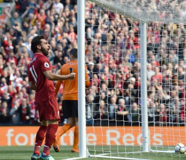 Salah celebra un gol en el último partido liguero | Foto: Liverpoolfc.com