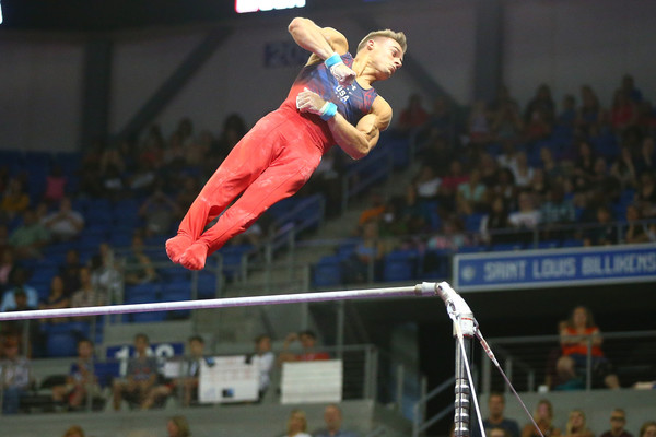 Mikulak during the high bar competition. Photo: Dilip Vishwanat/Getty Images
