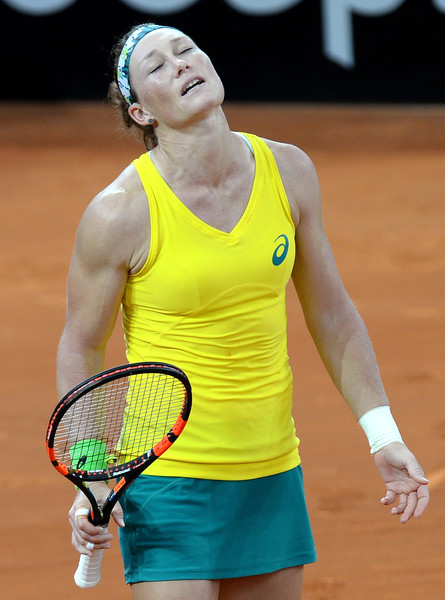 Stosur in Fed Cup action against McHale. Photo: Bradley Kanaris/Getty Images