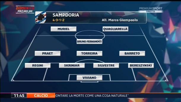 La formazione della Sampdoria, twitter @PremiumSportHD