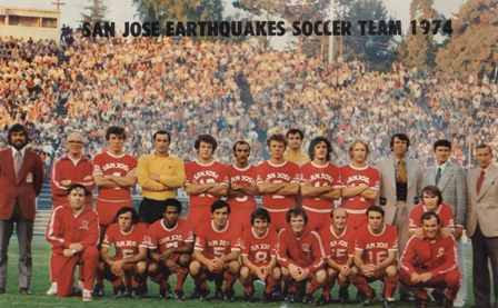San Jose Earthquakes in 1974 line-up in red at the Spartan Stadium. | Photo: San Jose History