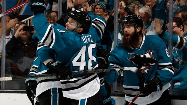 The aging San Jose Sharks are hoping to celebrate making the postseason again this season. (Photo: nhl.com)