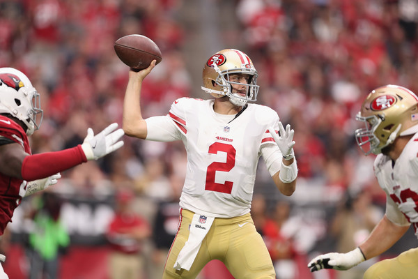 Quarterback Brian Hoyer #2 of the San Francisco 49ers throws a pass. |Source: Christian Petersen/Getty Images North America|
