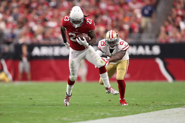 Running back Chris Johnson #23 of the Arizona Cardinals runs the ball past free safety Jaquiski Tartt #29 of the San Francisco 49ers. |Source: Christian Petersen/Getty Images North America|