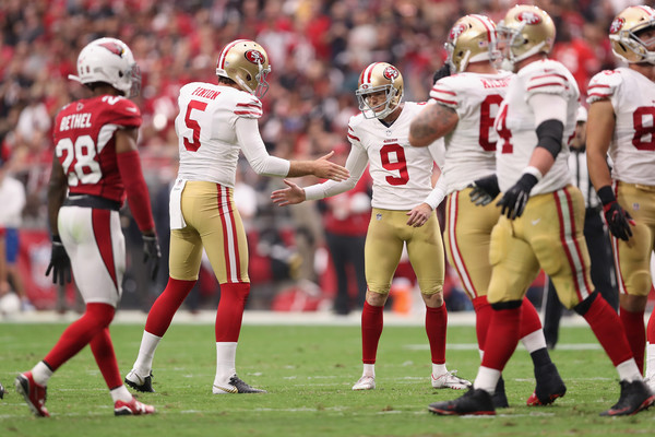 Kicker Robbie Gould #9 of the San Francisco 49ers reacts with punter Bradley Pinion #5 after kicking a second quarter field goal. |Source: Christian Petersen/Getty Images North America|