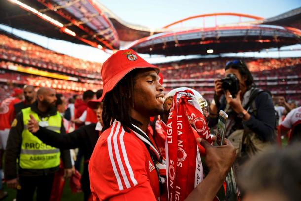 Despite being suspended, Sanches joined in with Benfica's title celebrations. (Source: Sun)