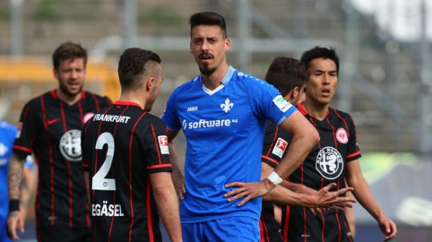 Darmstadt talisman Sandro Wagner looks on after his missed penalty in last week's crucia match against Frankfurt (Source: Sport1.de/Getty Images)