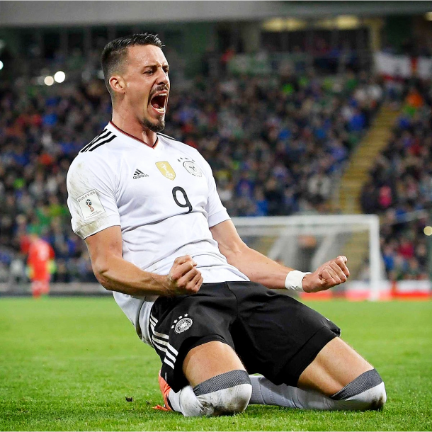 Sandro Wagner celebrando el gol contra Irlanda del Norte. Foto: Die Mannschaft