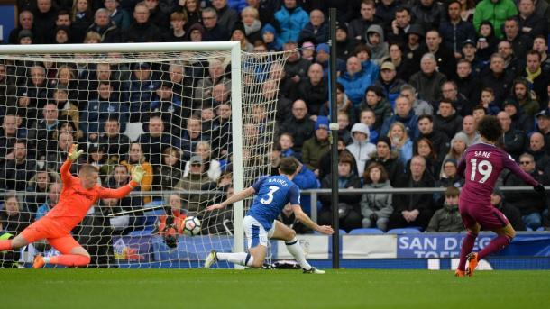 Sané en el 0-1 ante el Everton. Foto: Premier League.