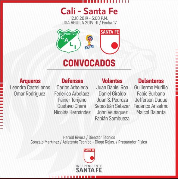 Los convocados de Santa Fe. Vuelven Balanta y Pedroza. Imagen: @SantaFe