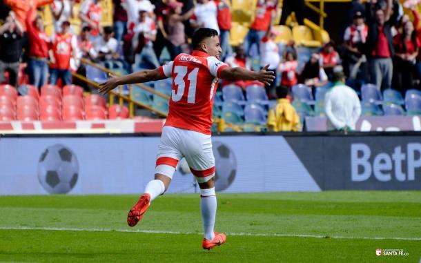 El autor del gol con el que Santa Fe ganó su segundo partido en cuadrangulares. Imagen: Samuel Norato, Ind.Santa Fe
