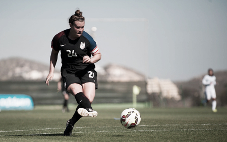 Savannah McCaskill competes for the u-23 WNT at the La Manga Tournament (Photo: Getty/NurPhoto)