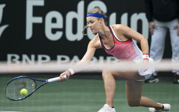 Anna Karolina Schmiedlova in Fed Cup play. Photo: Fed Cup
