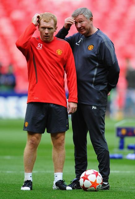 Ferguson con Scholes en un entrenamiento. Foto: Getty Images