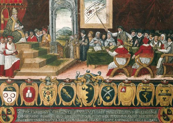 Creación del Calendario por el Papa Gregorio XIII (1582), por Scipio Turaminus. PD.
