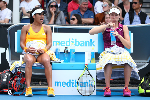 Watson and Konta played in the doubles together at the Australian Open (Getty/Scott Barbour)