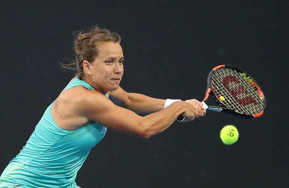 Barbora Strycova in action against Elizaveta Kulichkova in the opening round (Getty/Scott Barbour)