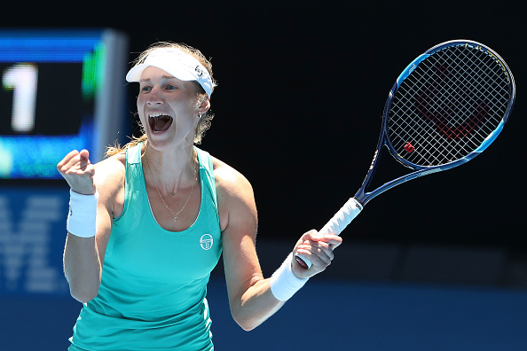 Ekaterina Makarova celebrates her third round win over Dominika Cibulkova (Getty/Scott Barbour)