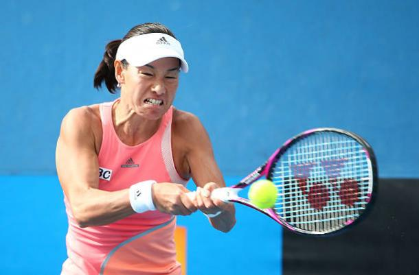 Kimiko Date-Krumm in action against Armandine Hesse in 2016 Australian Open qualifying, the last time she appeared on court (Getty/Scott Barbour)