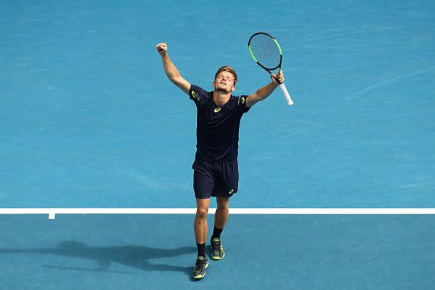 David Goffin celebrates his fourth round win over Dominic Thiem at the Australian Open earlier this year (Getty/Scott Barbour)