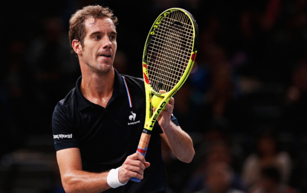 Richard Gasquet of France in action against Leonardo Martin Mayer of Argentina during Day 3 of the BNP Paribas Masters held at AccorHotels Arena on November 4, 2015 in Paris, France. (Photo by Dean Mouhtaropoulos/Getty Images)